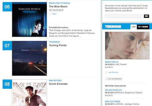 Turning Points auf Platz 7 der offiziellen Jazz-Chart von Media Control